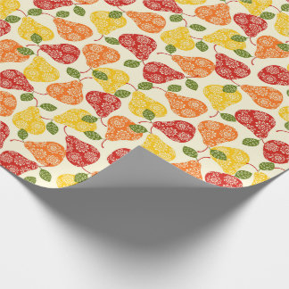 Beautiful Cute pears in autumn colors Wrapping Paper