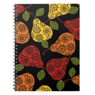 Beautiful Cute pears, yellow,  orange, maroon Notebooks