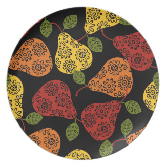 Beautiful Cute pears, yellow,  orange, maroon Plate