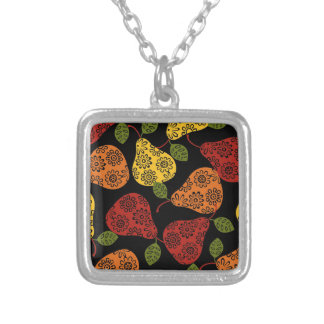 Beautiful Cute pears, yellow,  orange, maroon Silver Plated Necklace