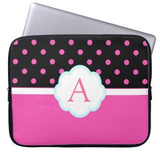 Beautiful cute, sweet pink and black polka dots laptop sleeve