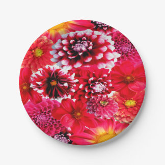 Beautiful Dahlia Collage 7 Inch Paper Plate