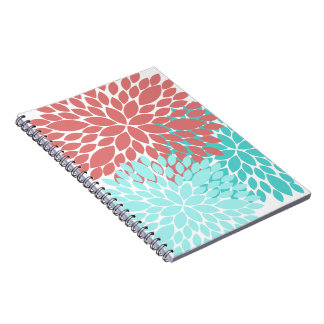 Beautiful Dahlia Pattern Notebook Coral Teal Gift