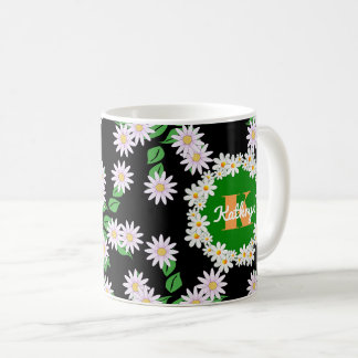 Beautiful Daisies w/Monogram & Name Coffee Mug