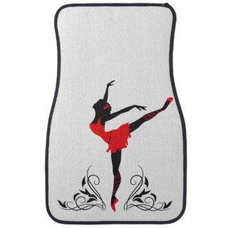 Beautiful dancing woman silhouette floral ornament auto mat