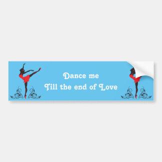 Beautiful dancing woman silhouette floral ornament bumper sticker