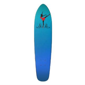 Beautiful dancing woman silhouette floral ornament custom skate board