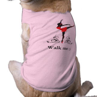 Beautiful dancing woman silhouette floral ornament dog tee