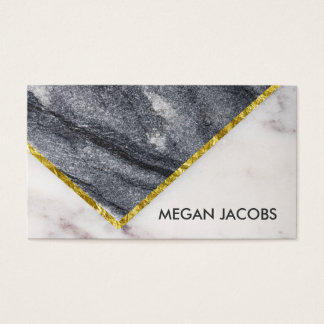 Beautiful Dark and Light Marble and Gold Accent Business Card