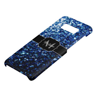 Beautiful Dark Blue glitter sparkles Monogram Case-Mate Samsung Galaxy S8 Case