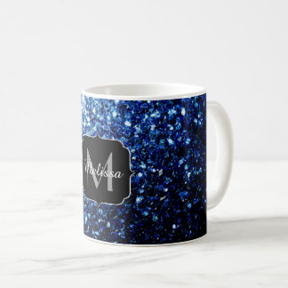 Beautiful Dark Blue glitter sparkles Monogram Coffee Mug