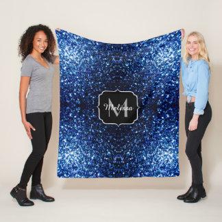 Beautiful Dark Blue glitter sparkles Monogram Fleece Blanket
