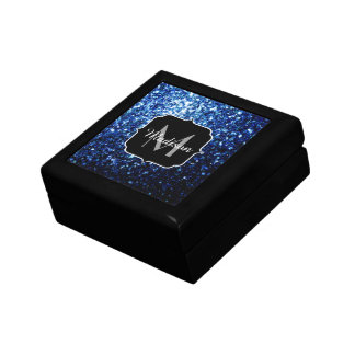 Beautiful Dark Blue glitter sparkles Monogram Gift Box
