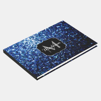 Beautiful Dark Blue glitter sparkles Monogram Guest Book