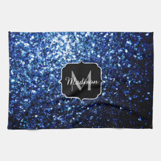 Beautiful Dark Blue glitter sparkles Monogram Kitchen Towel