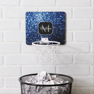 Beautiful Dark Blue glitter sparkles Monogram Mini Basketball Hoop