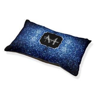 Beautiful Dark Blue glitter sparkles Monogram Pet Bed