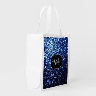 Beautiful Dark Blue glitter sparkles Monogram Reusable Grocery Bag