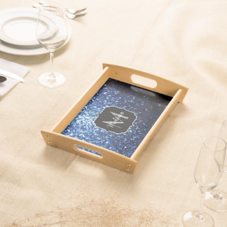 Beautiful Dark Blue glitter sparkles Monogram Serving Tray