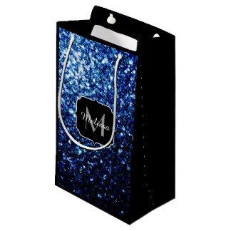 Beautiful Dark Blue glitter sparkles Monogram Small Gift Bag