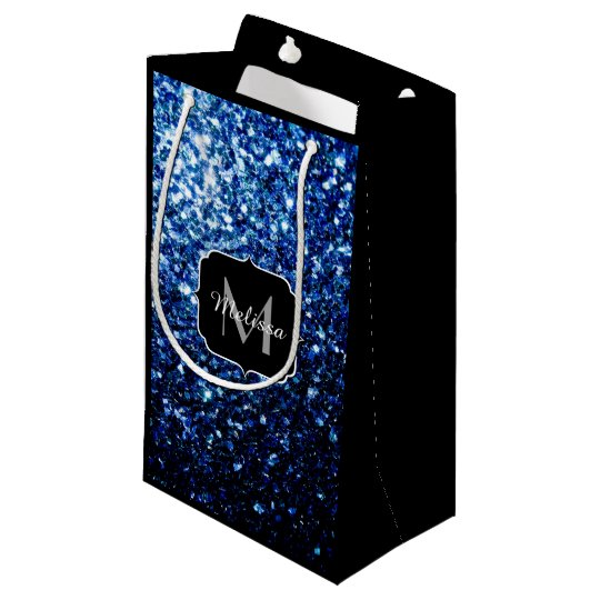 Beautiful Dark Blue glitter sparkles Monogram Small Gift Bag