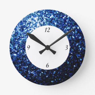 Beautiful Dark Blue glitter sparkles with numbers Round Clock
