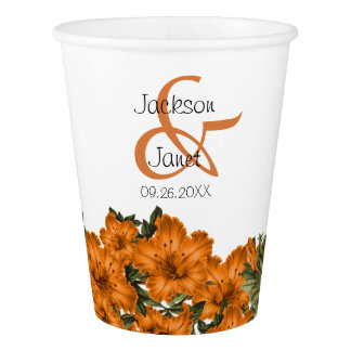 Beautiful Dark Orange Lilies Paper Cup
