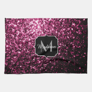 Beautiful Dark Pink glitter sparkles Monogram Kitchen Towel
