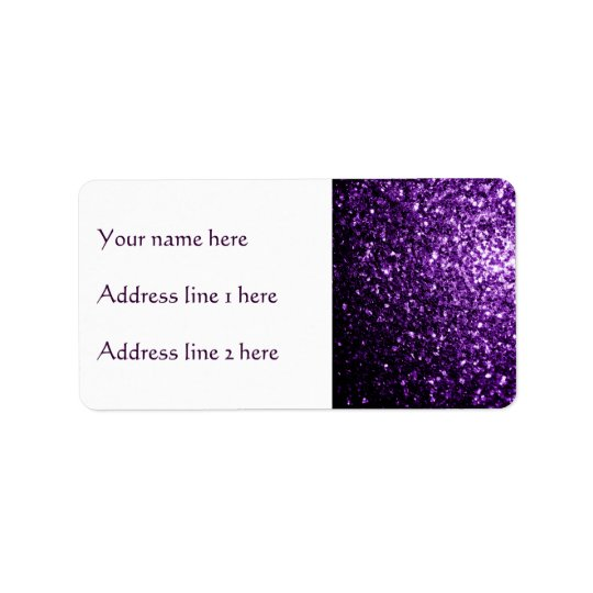 Beautiful Dark Purple glitter sparkles Label