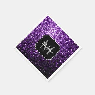 Beautiful Dark Purple glitter sparkles Monogram Disposable Napkins