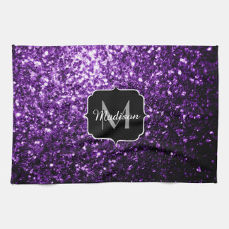Beautiful Dark Purple glitter sparkles Monogram Kitchen Towel