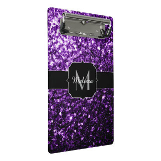 Beautiful Dark Purple glitter sparkles Monogram Mini Clipboard