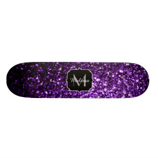 Beautiful Dark Purple glitter sparkles Monogram Skateboard Deck