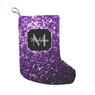 Beautiful Dark Purple glitter sparkles Monogram Small Christmas Stocking
