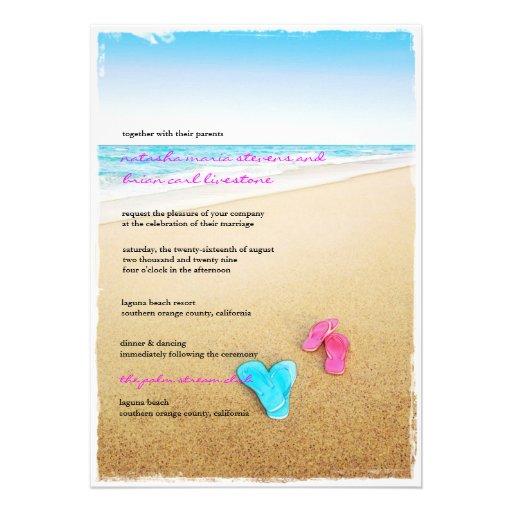Beautiful Day Beach Flip Flops Chic Wedding Invite Custom Invitation Zazzle