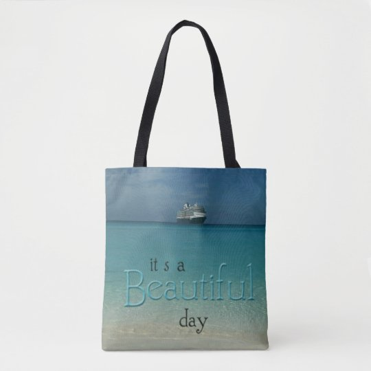 'Beautiful Day' Clear Caribbean Waters Beach Tote Bag