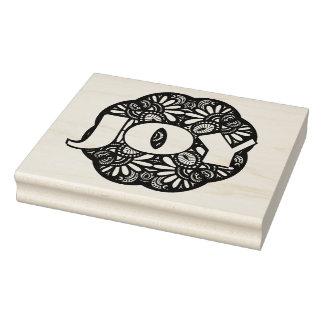 Beautiful Deco Black Square Doodle Rubber Stamp
