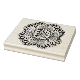 Beautiful Deco Square Doodle Rubber Stamp