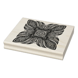 Beautiful Decor Square Doodle Rubber Stamp