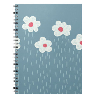 Beautiful Decorative Flower Pattern Rain Clouds Notebooks