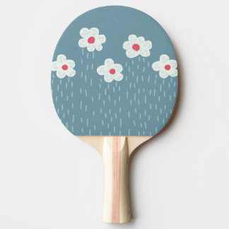 Beautiful Decorative Flower Pattern Rain Clouds Ping Pong Paddle