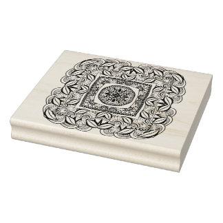 Beautiful Decorative  Square Doodle Rubber Stamp