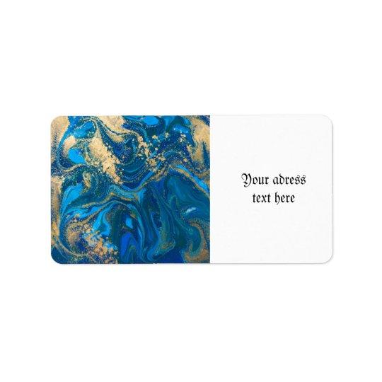beautiful,deep blue marble,gold,digital photo label