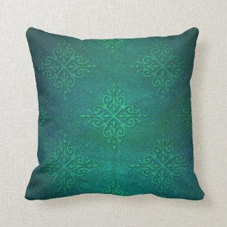 Beautiful Deep Green Rustic Damask Throw Pillow