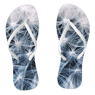 beautiful delicate dandelion flower photograph flip flops