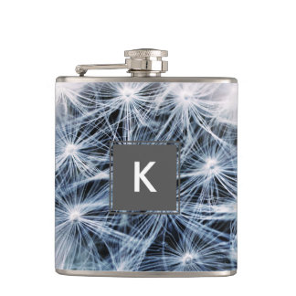 beautiful delicate dandelion flower photograph hip flask