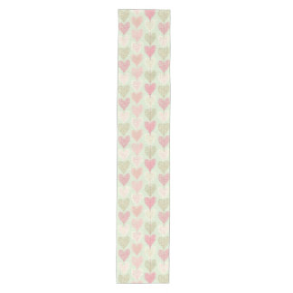 Beautiful Delicate Pastel Color Heart Pattern Medium Table Runner
