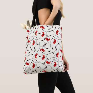 Beautiful Delicate Red Flower Pattern Tote Bag