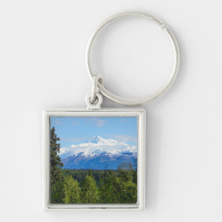 Beautiful Denali Silver-Colored Square Keychain