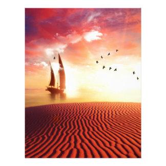 Beautiful desert and ship fantasy illustration customized letterhead